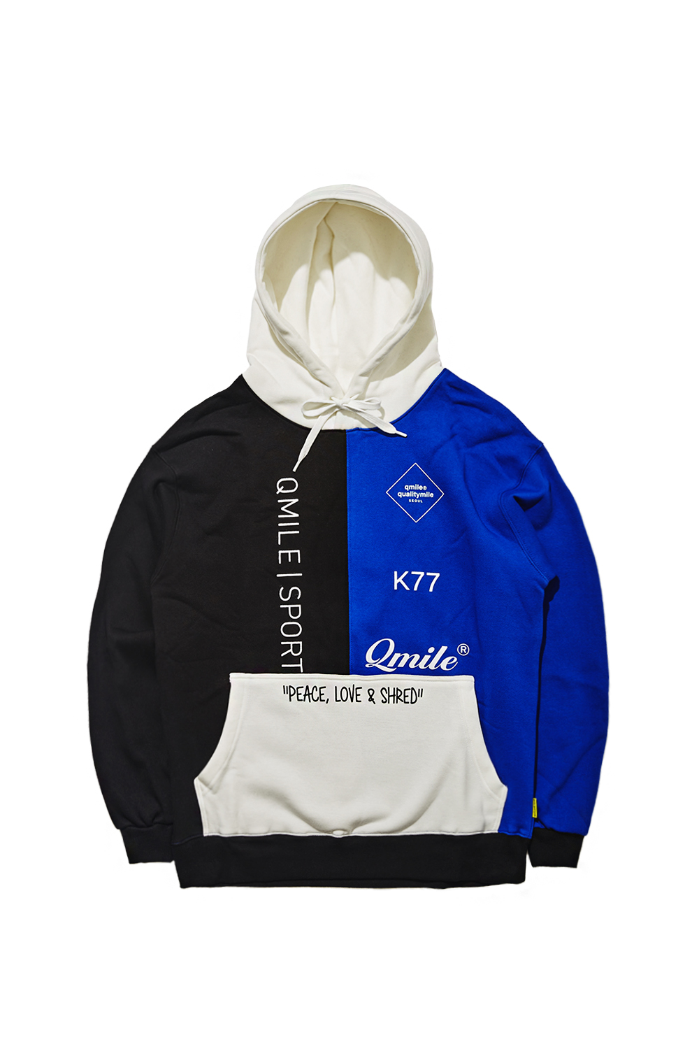 VETICAL COLORBLOCK HOODIE SWEATSHIRTS | BLUE/BLACK
