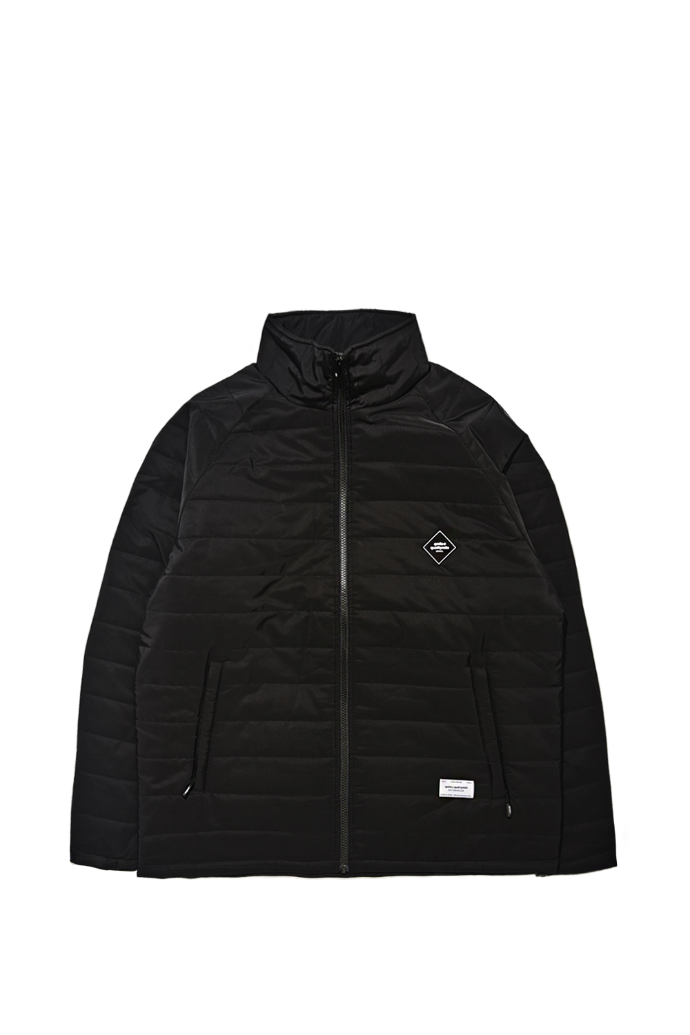 STRIPE QUILTING JACKET | BLACK